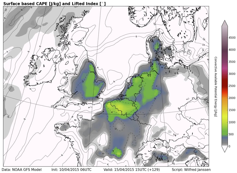 Onweer kans voor 15 April