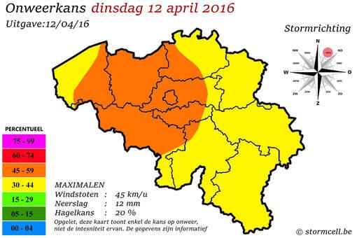 Onweerkansen Nederland en Belgie 12/15 april 2016